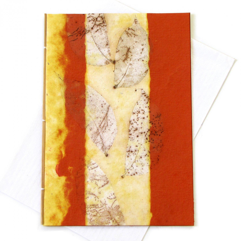 Handmade thank you greetings card recycled Mom 5x7 orange tree free leaf imprint paper craft