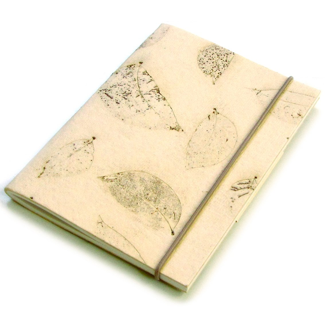 Journal handcrafted notebook recipes diary 5x7 40pp blank cream small leaf handmade paper craft
