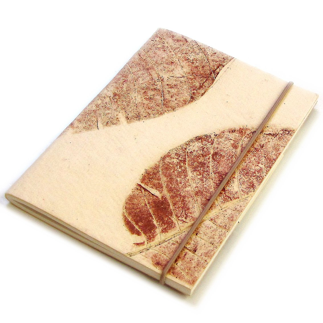 Handcrafted journal blank notebook cream handmade large leaf paper sketching 5x7 40pp