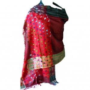Scarf wrap shawl deep red w/stripe detail light weight 28x74in 35 silk, 30 cashmere, 35 viscose