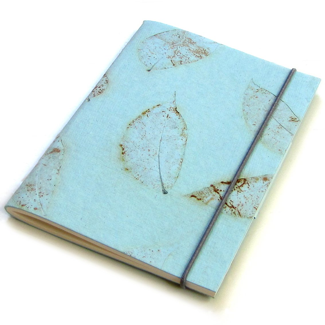 Handmade small leaf journal light blue recycled paper blank notebook 5x7 40pp Xmas mom present
