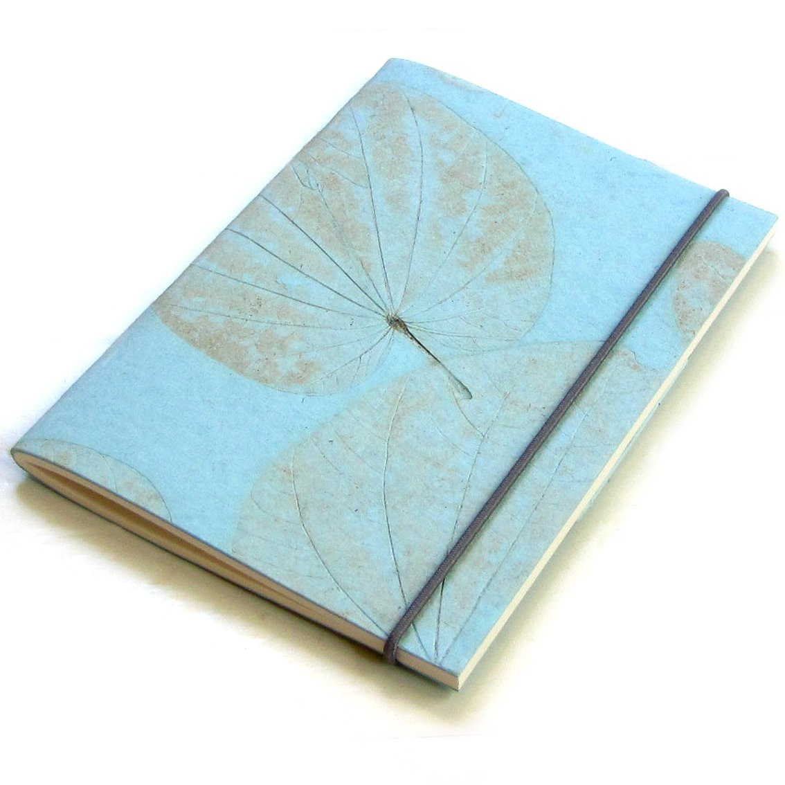 Handmade journal recycled heart leaf paper light blue sketching 5x7 40pp handmade stationery