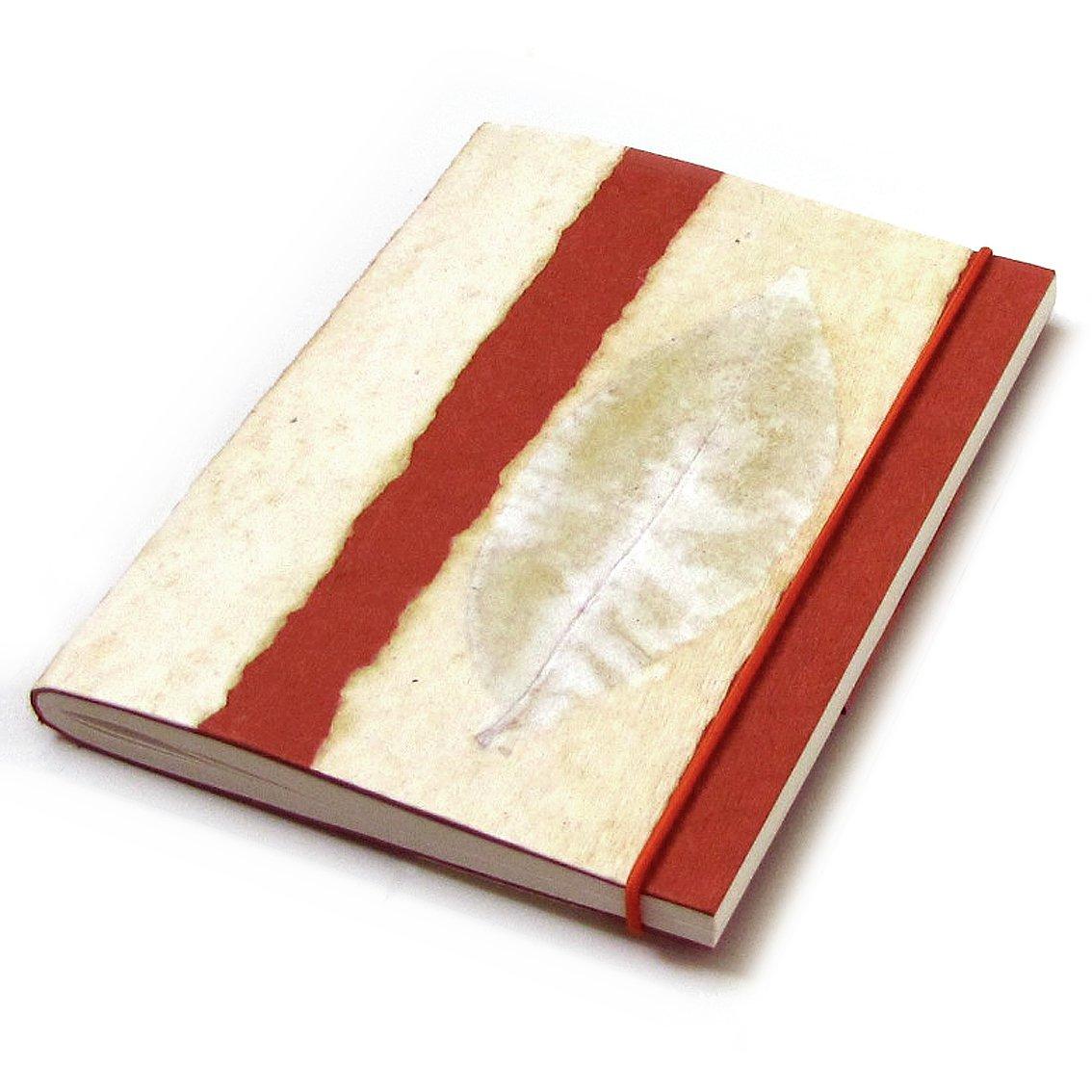 Journal sketching handmade striped natural leaf paper mom present elastic orange 5x7 88pp