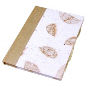 Wedding guest book handmade journal gift diary 6x8in 50pp silk spine white small leaf hard cover