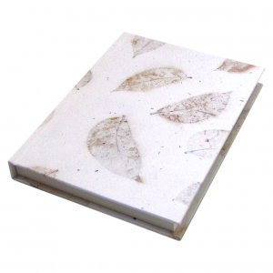 Blank diary journal wedding guest book hardcover handmade white leaf recycled paper 5x7in 104pp
