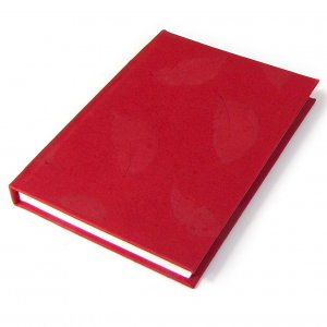 Handmade journal diary guest book hardcover 5x7in notebook red natural leaf paper Xmas gifts