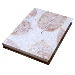 Writing journal natural leaf guest book handmade paper craft hardcover light gray 5x7in 104pp