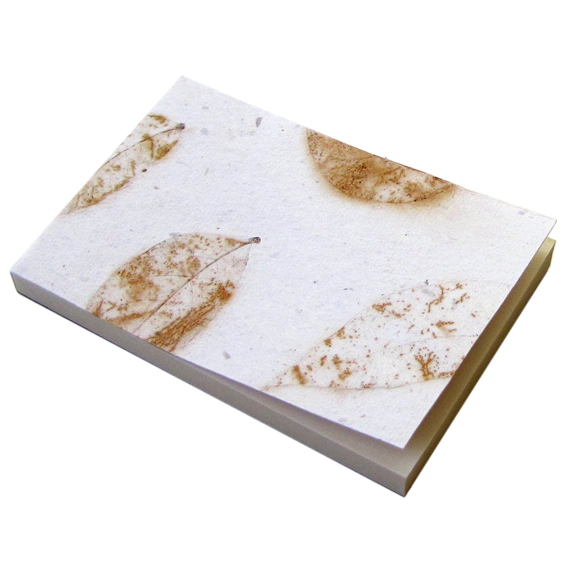 Memo pad note block stationery handmade recycled paper white natural leaf 3x5in 100 peel off pages