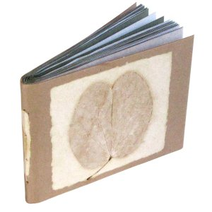 Handcrafted 5x7 photo album tan natural leaf 16pp recycled handmade paper craft Christmas