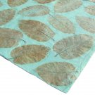 Handmade tree free craft wrapping gift paper 21x31in aqua large leaf imprint recycled handmade paper