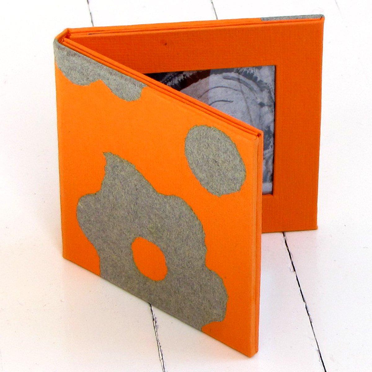 Folding double photo picture frame 2.5x2.5 acid free handmade flower craft paper arts orange/gray