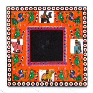 Picture photo frame wood handmade 3.5x3.5 orange hand carved Indian folk art craft mom present