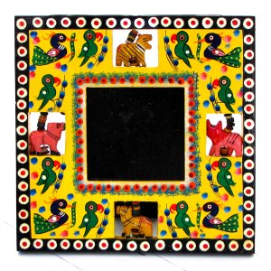 Wooden craft handmade photo picture frame 3.5x3.5 yellow square hand carved Indian folk art crafts