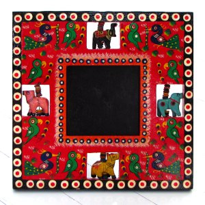 Picture frames handmade decor 3.5x3.5 square red hand carved wooden Indian craft folk art Mom