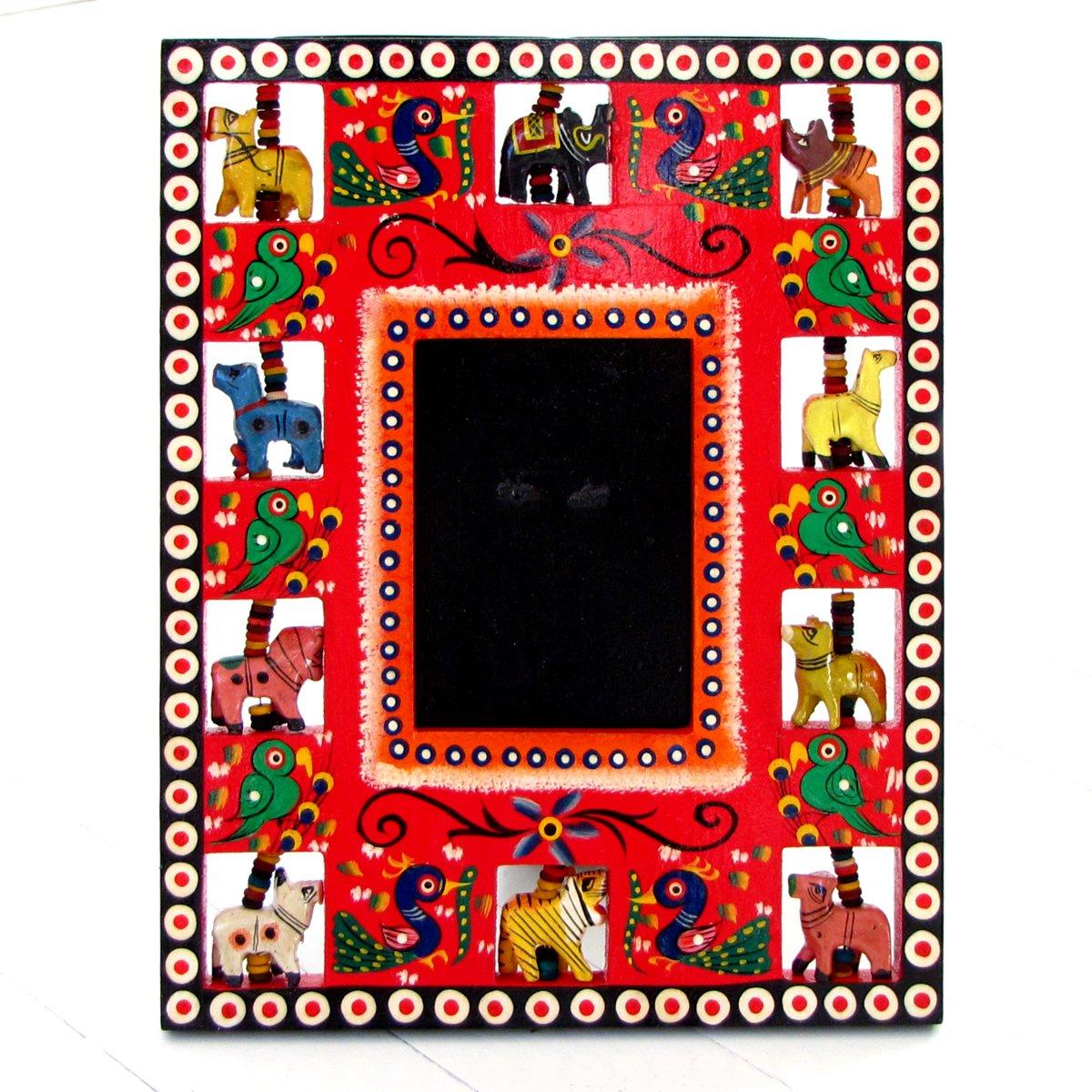 Photo framing 3.5x4.5 (8x10) handmade home decor accessories wooden red Indian craft folk art