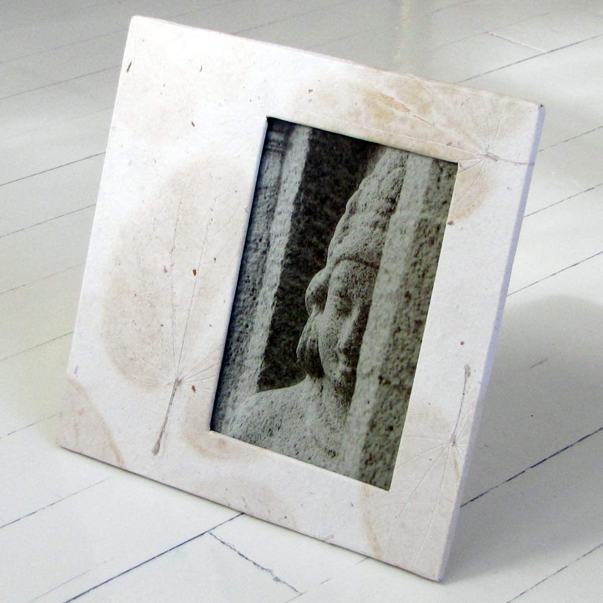 Picture frame stationery 4x6/5x7 handmade white heart natural leaf paper