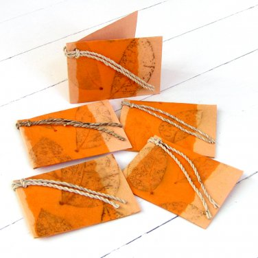 Gift tags labels 3x2.5 set 5 handmade tree free light orange natural leaf craft paper