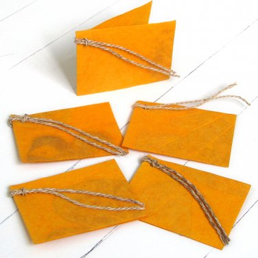 Gift labels tags handmade craft mom present natural leaf yellow paper 3x2.5 folded