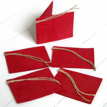 Red natural leaf gift tags handmade craft paper mom present set5 3x2.5 folded