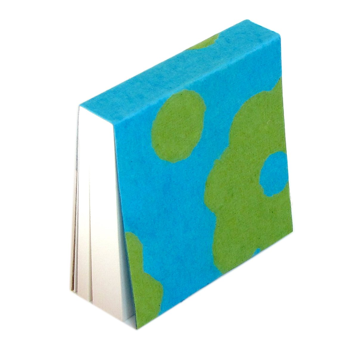 Note pad memo block turquoise handmade flower paper craft Xmas mom present 4x4 200 blank sheets