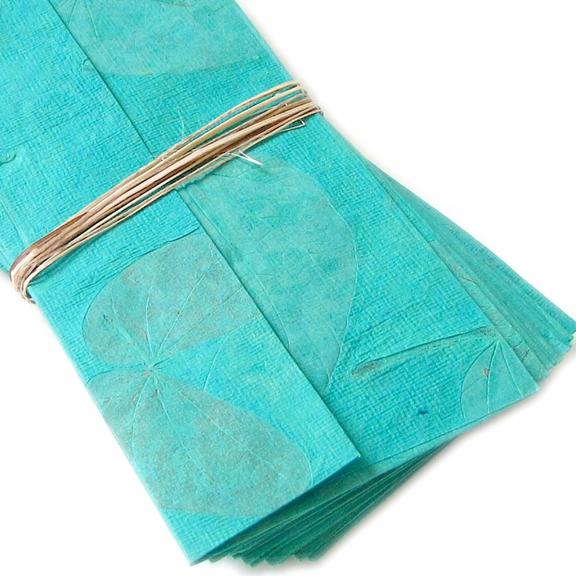 Handmade recycled cotton writing paper stationery stationary set 10 aqua natural leaf