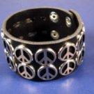 Black Wide leather Peace sign cuff bracelet new