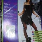 Witch teen goth costume size med black short dress hat belt