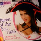 Queen of  the  sea  woman Pirate  Hat  black lace  gold  red  trim