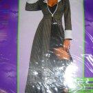 Gangster Coat Woman long pinstripe zipper front mobster