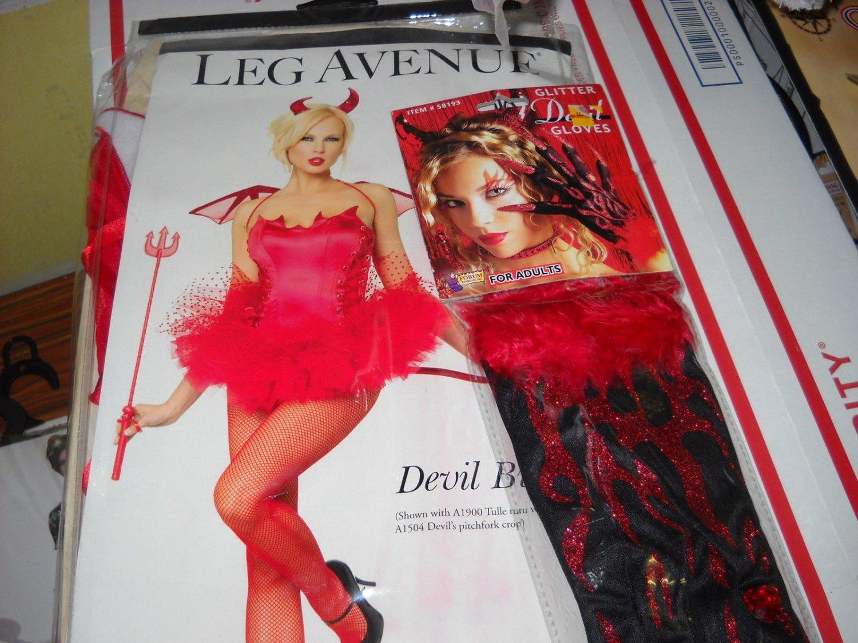 Leg Ave Devil Red Bustier corset size medium 34 thigh high devil gloves