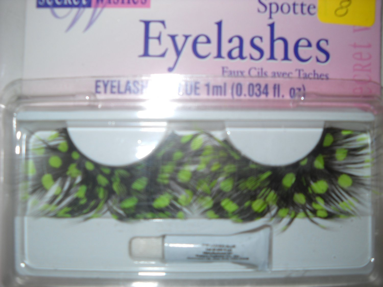 Spotted Feathered Costume Eyelashes green w/glue  shipped free