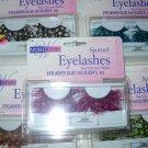Feathered Eyelashes blackw/pink spots lashes w/glue shipped free
