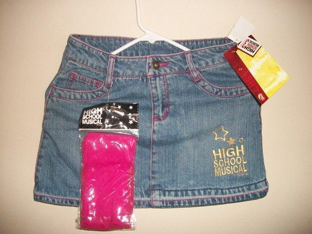 HIGH School Musical Girls Jean Skirt Tights New L 10 12