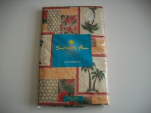 Palm Trees Flowers Summer Tablecloth Vinyl Flannel New