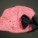 Girls PINK Kufi Hat Cap w/ Black Boutique Hair Bow New