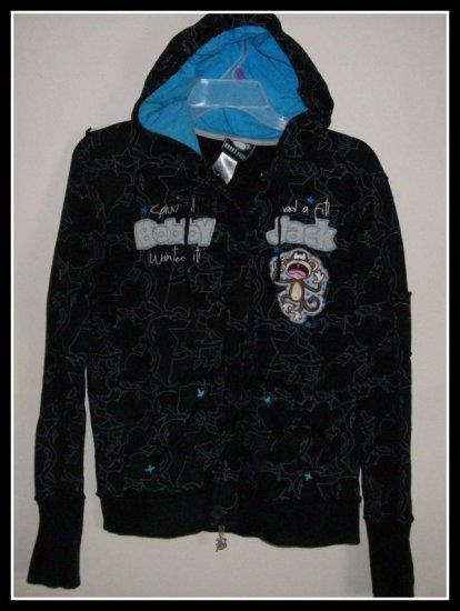 Bobby Jack Black Sweatshirt Hoodie Cute Juniors L Large