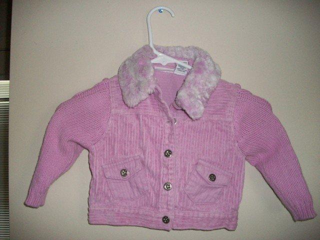 POLKATOTS Girls Lavender Corduroy Jacket Fur 24 m 2 2t