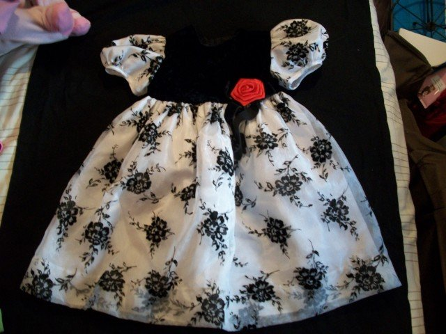 C.I. Castro Girl Gorgeous Black White Floral Dress 2 2t