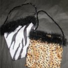 Girls Safari Print Purse Bag Fur Zebra Leopard New Gift