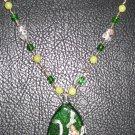Golden Green Leaf Necklace