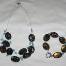 Blue Cheetah Necklace and Bracelet Set