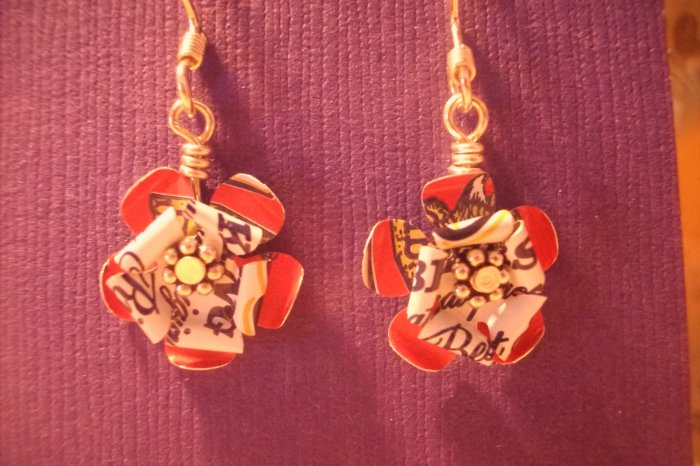 Trashy Recycled Aluminum Can Earrings (BW1)