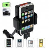 iPhone and iPod Car Charger and Holder + FM Transmitter