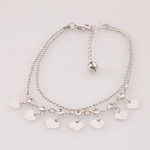 Charming Heart Alloy Plated Anklet