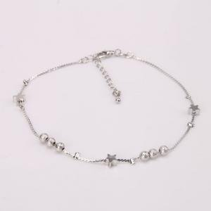 Elegant Star Bead Alloy Plated Anklet Silver