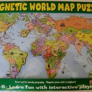 WORLD MAP MAGNETIC PUZZLE,PLAY-N-LEARN COUNTRIES & CAPS