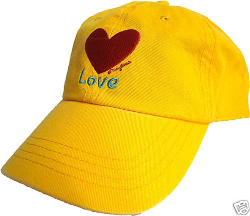LOVE HEART HAT YELLOW BASEBALL CAP BRIGHT COLORFUL