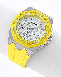 Yellow/silvertone unisex watch