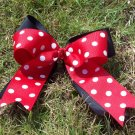 Black and Red Polka Dot Tailed Hairbow