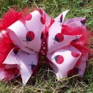 Pink Lady Bug Hairbow with Red Feathers